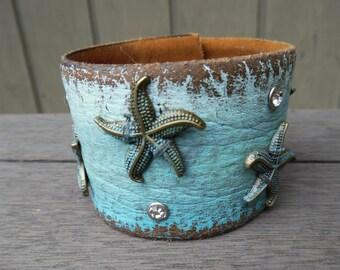 Starfish Sea Stars Bronze Turquoise White Rhinestones Distressed Brown Upcycled Leather Cuff Bracelet