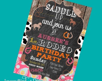 Cowgirl Birthday Invitation My First Rodeo Girls Cowboy Cowgirl Birthday Invite
