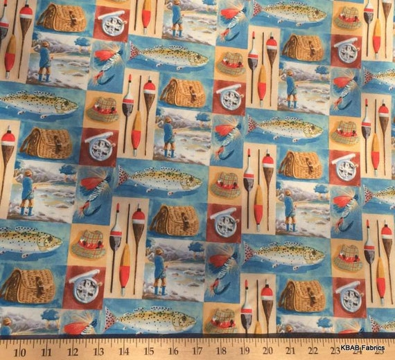 Vintage sports gone fishing fabric by the yard half fat for Fish fabric by the yard