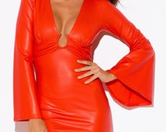 Embellished Deep V Neck Bell Sleeve Mini (Red)