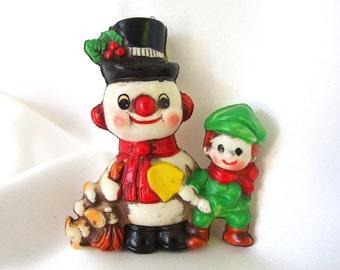 Vintage Plastic Christmas Ornament, Snowman with Boy Ornament