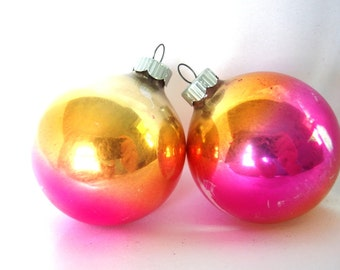 2 Vintage Shiny Brite Christmas Ornaments - Orange, Hot Pink and Gold Ombre Shabby Cottage Christmas Ornaments