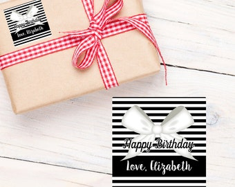 Gift Tag Stickers- Personalized Gift Labels - Happy Birthday Labels, Elegant Bow
