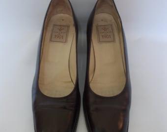 Vintage shoes 90s Cable & Co Brown Leather court shoes pumps size UK 4 1/2  EU 36 1/2 US 5 1/2
