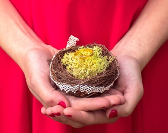Little nest ring holder enchanted magic nest for your rings for fairy wedding with cushion nest and moss bird nest
