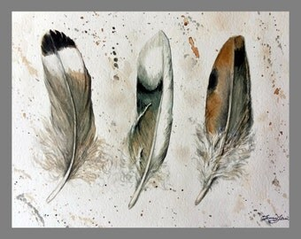"Original Water color Painting, Feather in Warm Color, 160476, 8""x10"""