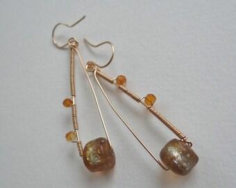 Long dangling basha bead earrings 14K gold wire with faceted citrine unique earrings boho primitive women's earrings Roman glass