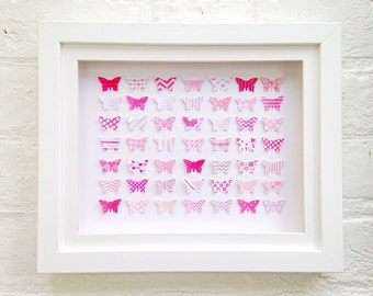 3D butterfly wall art ~ Unique gifts for women ~ Framed art ~ Baby girl ~  Bedroom wall art ~ Papercut art ~ Pink Butterfly