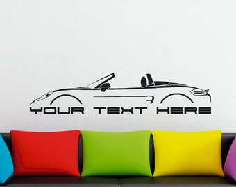 Large Custom car silhouette wall sticker - for Porsche Boxter 2012- (981) , with top down