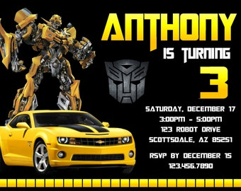 transformers invite  etsy, Birthday invitations