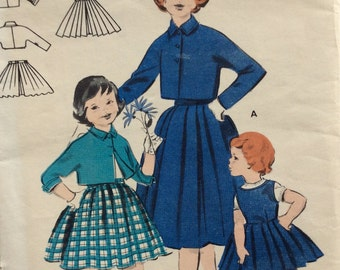 CLEARANCE!!  Butterick 7465 girls bolero jacket, skirt and jumper size 10 vintage 1950's sewing pattern