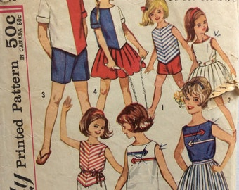 CLEARANCE!!  Simplicity 4457 girls blouse, top, skirt and shorts size 10 vintage 1960's sewing pattern