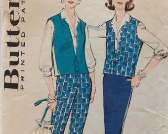 CLEARANCE!!  Butterick 8987 misses pants, skirt, blouse and vest  size 12 bust 32 waist 25 vintage 1950's sewing pattern