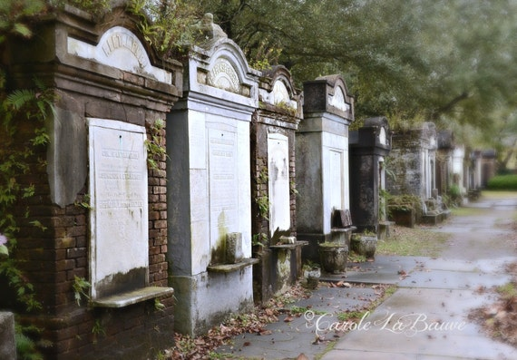 TOMBS of LAFAYETTE CEMETERY ~ New Orleans Cemetery Photograph ~ Above ground tombs ~ Cajun Decor ~ Color or Black and white ~ 12x18 format
