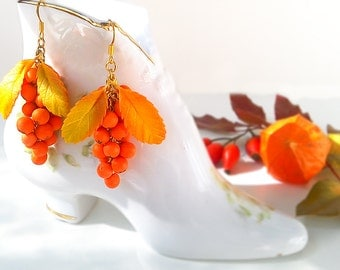 Rowan earrings. Autumn jewelry. Clay flowers. Floral earrings.