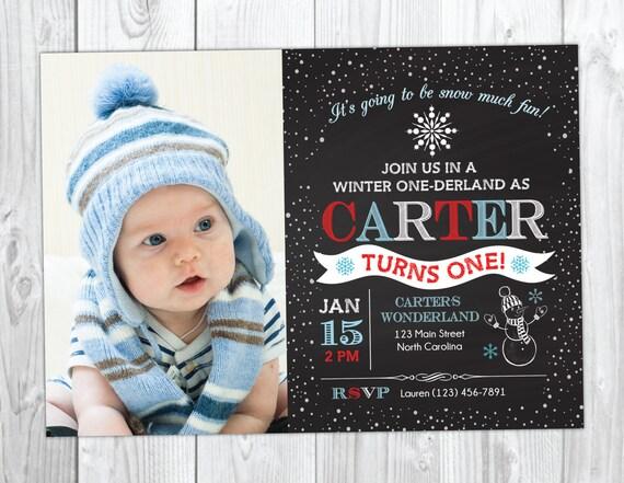 Boy Winter Wonderland Birthday Invitation - Snowflake Birthday Invitation - Onederland Invite with Photo - Christmas Birthday Chalkboard