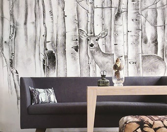 Deer In Woods Wallpaper Birch Trees Wall Mural Animal Forest Wall Covering  Moose Wall Decal Art