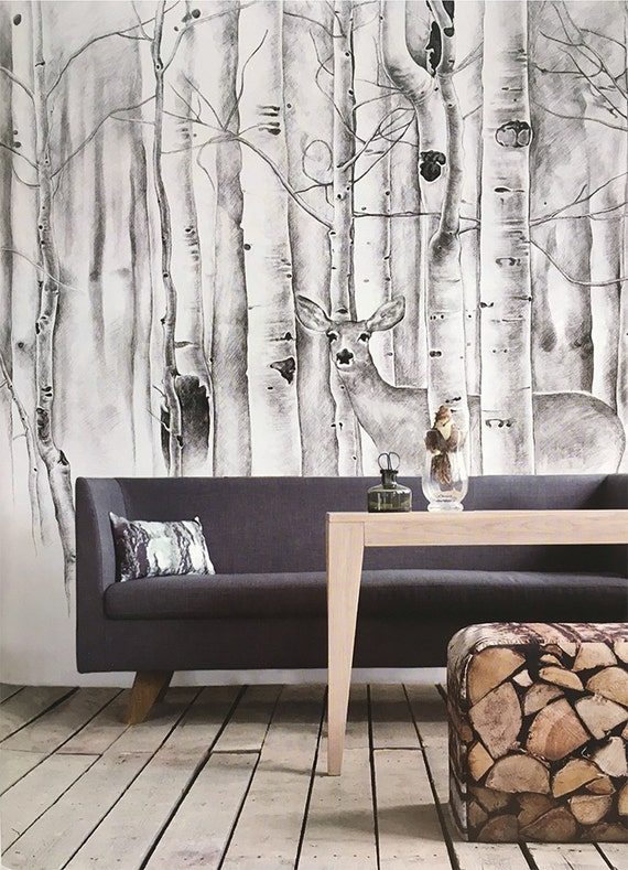 Deer in woods wallpaper birch trees wall mural animal forest for Black and white tree wallpaper mural