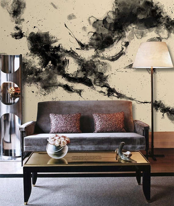 Splashink Painting Wallpaper Nude Black Wall Mural Chinese