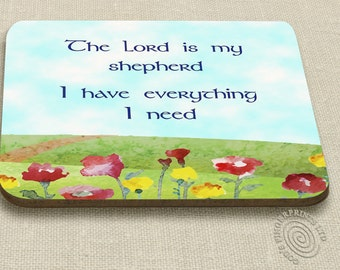 Christian coaster |The Lord is my shepherd | Bible verse | inspiring, comforting, encouraging