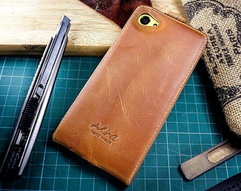 Akira Handmade Real Leather Wallet Card Dark Brown For IPHONE 5 5SE