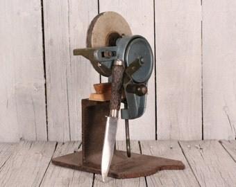 Vintage knife sharpener with Stand, Old hand crank sharpening stone, Vintage farm shop tool, Hand crank tool grinder, hand crank grinder