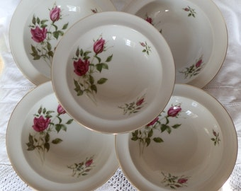 Set of Five 1950's Red and Pink Rose / Rosebud Pattern Fruit / Dessert Dishes / Bowls, Made in Czechoslovakia