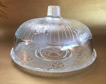 "9"" Vintage Glass Cake Dome Cake Plate"