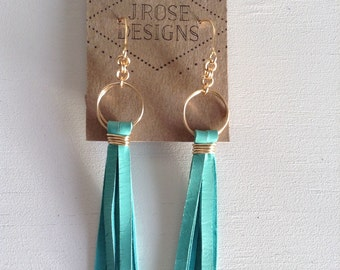 Turquoise Deerskin Leather Fringe and Gold Tone Earrings