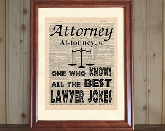 Attorney Dictionary Print, Law Office Decor, Law School Grad Gift, Attorney Quote, Lawyer Gift, Attorney Print on 5x7 or 8x10 Canvas Panel