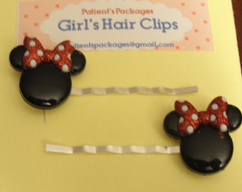 Minne Mouse Bobby Pins / Hair Clips / Barrettes
