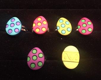 Easter egg children's rings - assorted colors