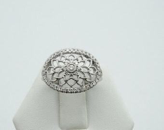 Dazzling Vintage 14K White Gold Diamond Dream Catcher Ring