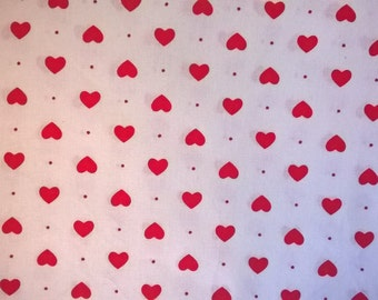 Red Hearts Fabric - Cotton Fat Quarter - Red and White Cotton FQ - Nursery Fabric - Quilting Fabric - Tiny Hearts Fabric - Hearts Pattern