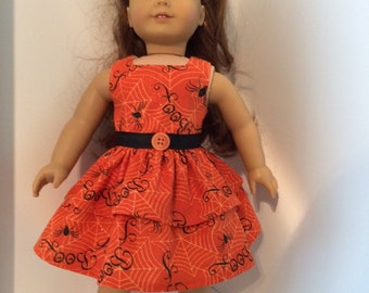 "Halloween Dress Fits 18 Inch Doll Clothes Sparkle Orange Background With Spiders, Webs and ""Boo"" in Black Fits American Girl Doll Clothes"