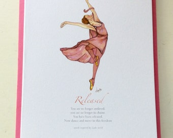 FREE TO DANCE pack of 4 Greeting Cards - Scripture text - Blank inside - Ballerina Cards - Encouragement Cards - Birthday Card -Get Well