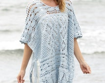 Crochet Women's Cotton Summer Poncho with Side Ties and Fan and Diamond Patterns, Custom Order, Handmade