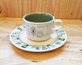Taylor Smith and Taylor Cup and Saucer, Cathay Pattern, Atomic, Retro