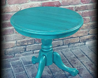 SOLD SOLD Vintage accent table, turquoise table, shabby chic accent table, distressed table, rustic accent table, teal accent table