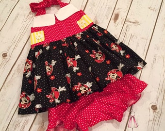 Vintage Minnie Mouse Tunic/Bloomers Set:  Size 12 months to Size 10