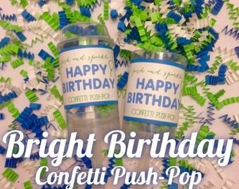 30% OFF SALE - Set of 10 - Bright Birthday Confetti Push-Pops