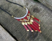 Red Leather Necklace Fringe Necklace Navajo Jewelry Native american necklace Handpainted Leather jewellery