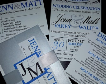 7 Piece Wedding Invitation Set, Return Address Printing Included, Complete and Ready to Use