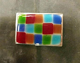 Fused Glass Rectangle, Belt Buckle, Multi colored, Silver Plated Finding. BELT NOT INCLUDED.