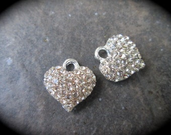 Rhinestone puffed heart charms Pave Rhinestone Heart Charms package of 2 13mm x 13mm Perfect for Adjustable bangle bracelets!