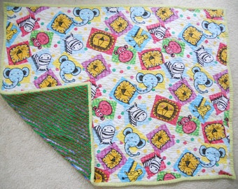 Faux Chenille Colorful Animals Blanket