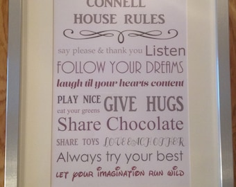 Family House Rules Print
