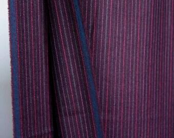 Purple pink vintage striped wool - purple w small stripes lightweight suiting wool