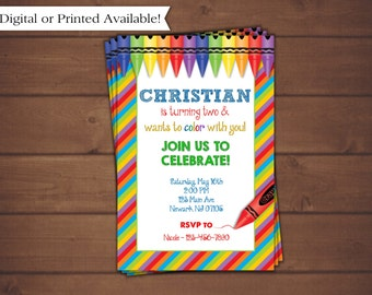 Crayons Birthday Invitation