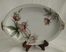 "Woodrose (F & B Japan) by Meito12"" Oval Serving Platter Tan Flowers, Green Leaves"